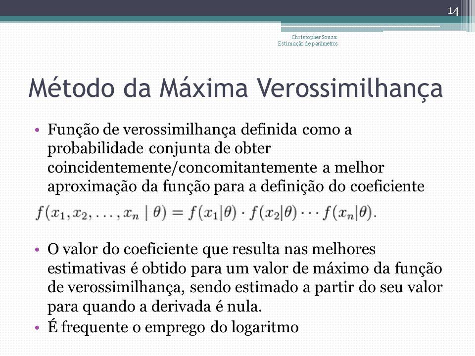 Método da Máxima Verossimilhança Função de verossimilhança definida como a probabilidade conjunta de obter coincidentemente/concomitantemente a melhor aproximação da função para a definição do coeficiente O valor do coeficiente que resulta nas melhores estimativas é obtido para um valor de máximo da função de verossimilhança, sendo estimado a partir do seu valor para quando a derivada é nula.
