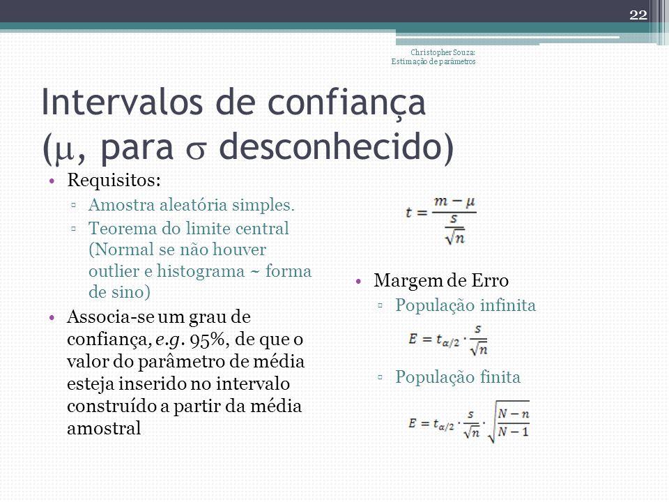 Intervalos de confiança (, para desconhecido) Requisitos: Amostra aleatória simples. Teorema do limite central (Normal se não houver outlier e histogr