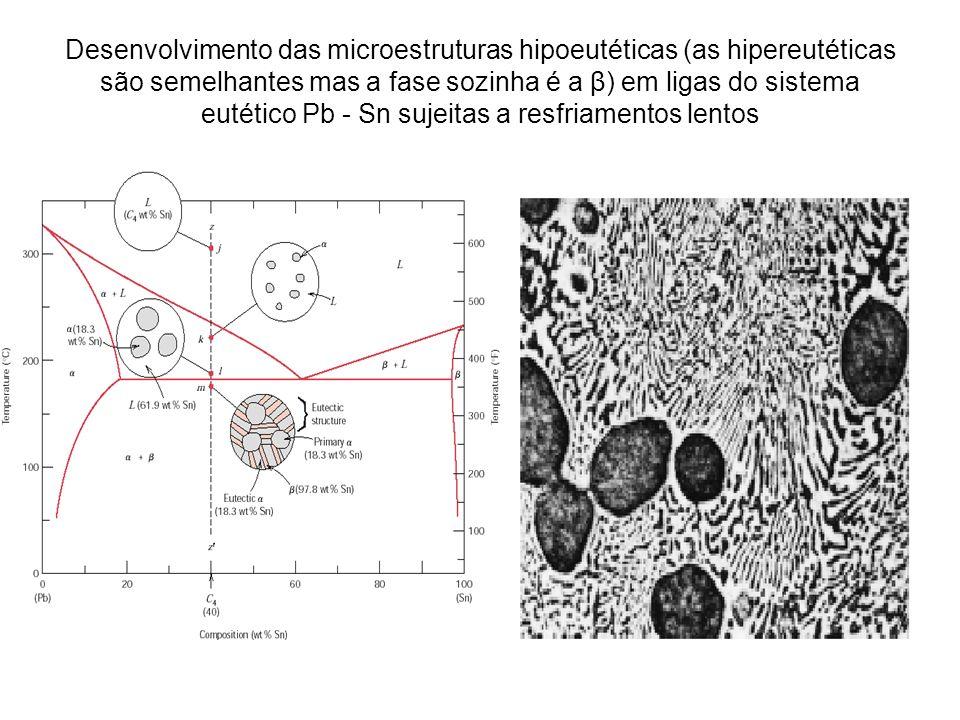 Desenvolvimento das microestruturas hipoeutéticas (as hipereutéticas são semelhantes mas a fase sozinha é a β) em ligas do sistema eutético Pb - Sn su