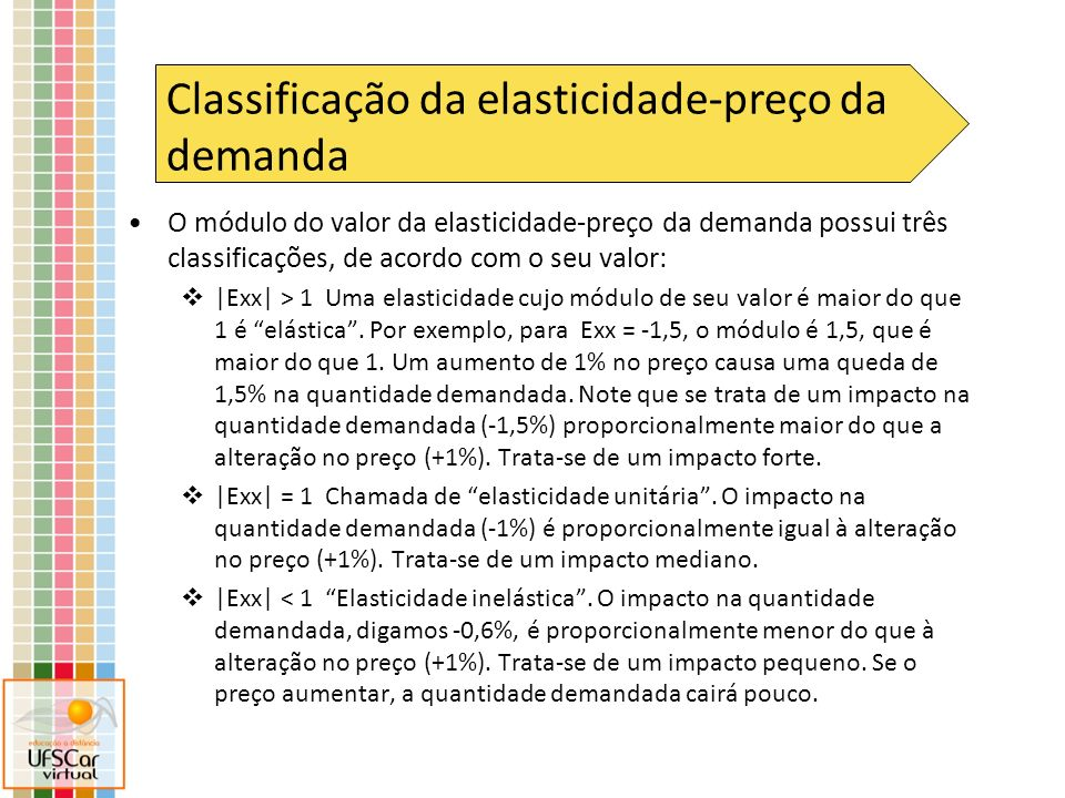 O módulo do valor da elasticidade-preço da demanda possui três classificações, de acordo com o seu valor: |Exx| > 1 Uma elasticidade cujo módulo de se