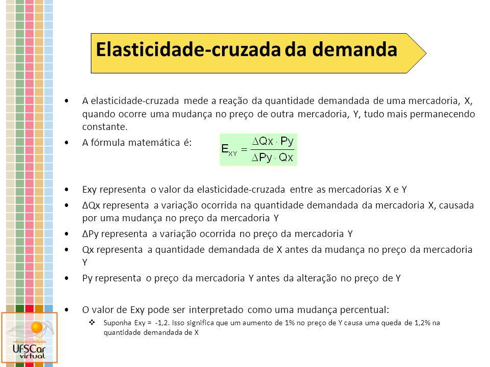 A elasticidade-cruzada mede a reação da quantidade demandada de uma mercadoria, X, quando ocorre uma mudança no preço de outra mercadoria, Y, tudo mai