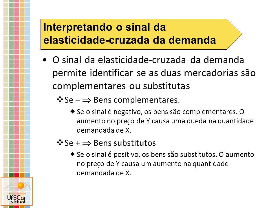 O sinal da elasticidade-cruzada da demanda permite identificar se as duas mercadorias são complementares ou substitutas Se – Bens complementares. Se o