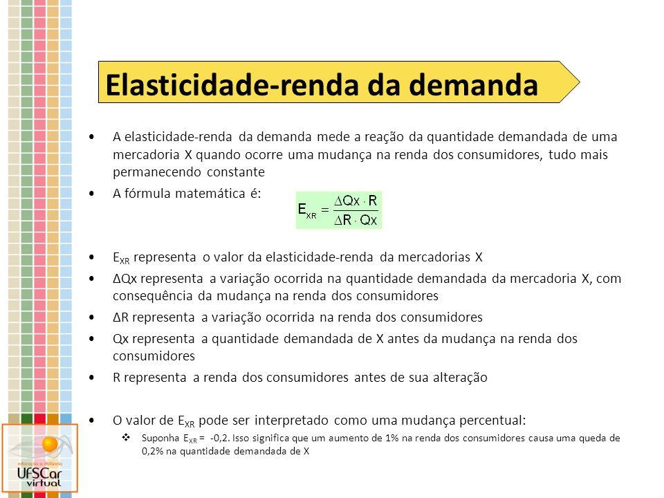 A elasticidade-renda da demanda mede a reação da quantidade demandada de uma mercadoria X quando ocorre uma mudança na renda dos consumidores, tudo ma