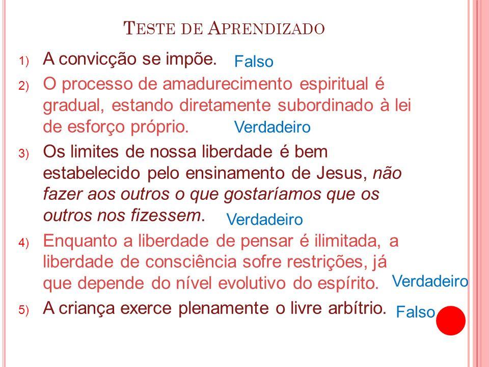 T ESTE DE A PRENDIZADO 1) A convicção se impõe. 2) O processo de amadurecimento espiritual é gradual, estando diretamente subordinado à lei de esforço