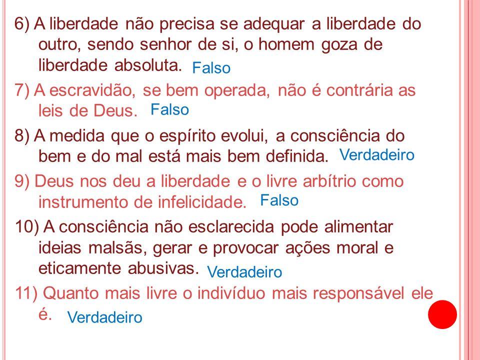 6) A liberdade não precisa se adequar a liberdade do outro, sendo senhor de si, o homem goza de liberdade absoluta. 7) A escravidão, se bem operada, n