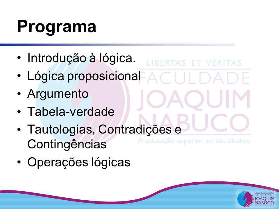 Programa Introdução à lógica. Lógica proposicional Argumento Tabela-verdade Tautologias, Contradições e Contingências Operações lógicas