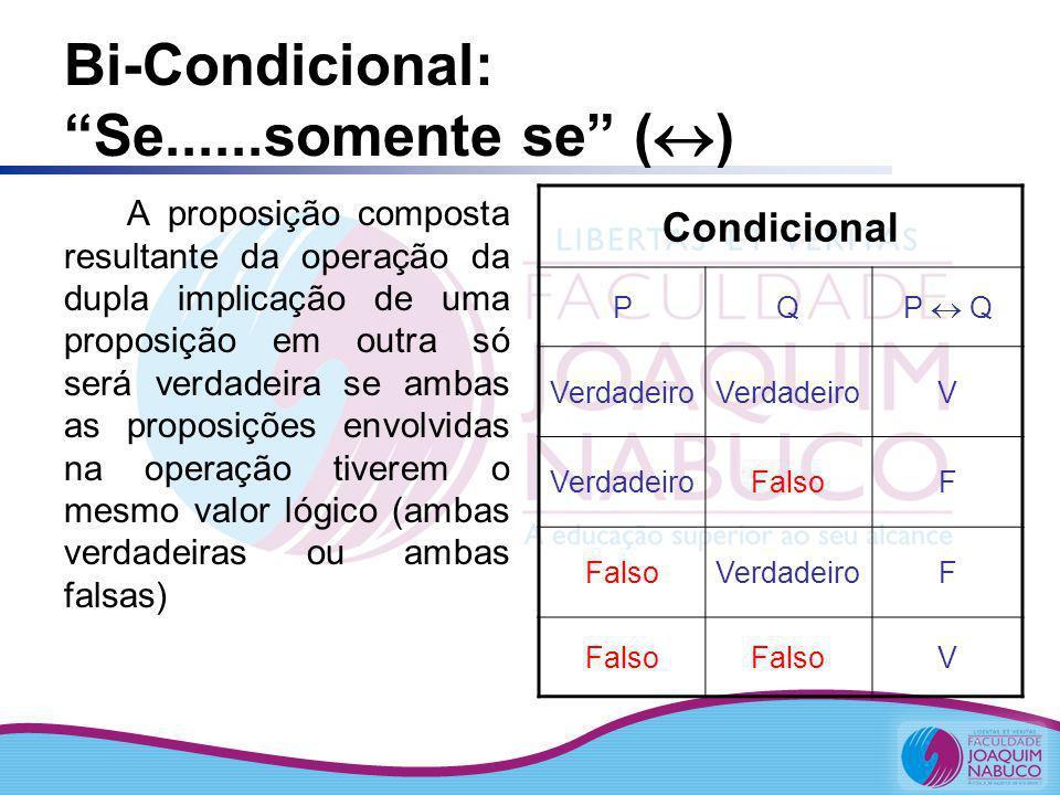 Bi-Condicional: Se......somente se ( ) A proposição composta resultante da operação da dupla implicação de uma proposição em outra só será verdadeira