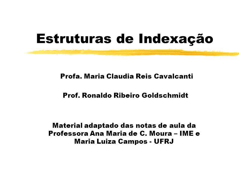 Estruturas de Indexação Profa. Maria Claudia Reis Cavalcanti Prof. Ronaldo Ribeiro Goldschmidt Material adaptado das notas de aula da Professora Ana M