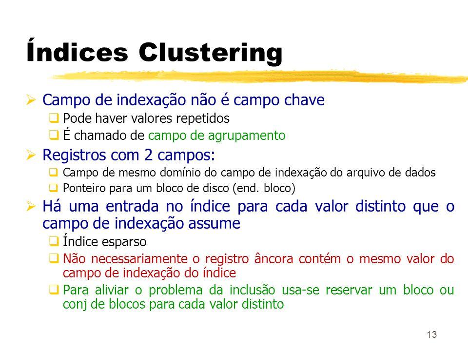 13 Índices Clustering Campo de indexação não é campo chave Pode haver valores repetidos É chamado de campo de agrupamento Registros com 2 campos: Camp