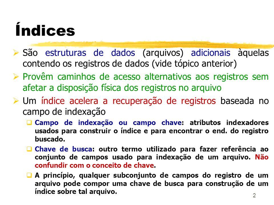 13 Índices Clustering Campo de indexação não é campo chave Pode haver valores repetidos É chamado de campo de agrupamento Registros com 2 campos: Campo de mesmo domínio do campo de indexação do arquivo de dados Ponteiro para um bloco de disco (end.