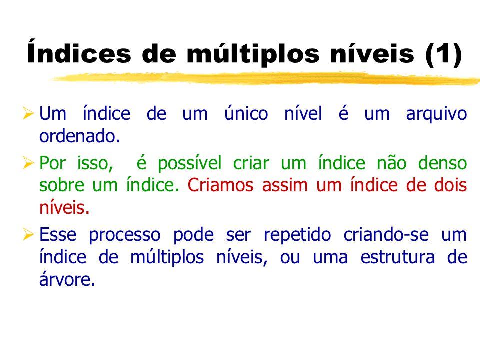 Um índice de um único nível é um arquivo ordenado. Por isso, é possível criar um índice não denso sobre um índice. Criamos assim um índice de dois nív