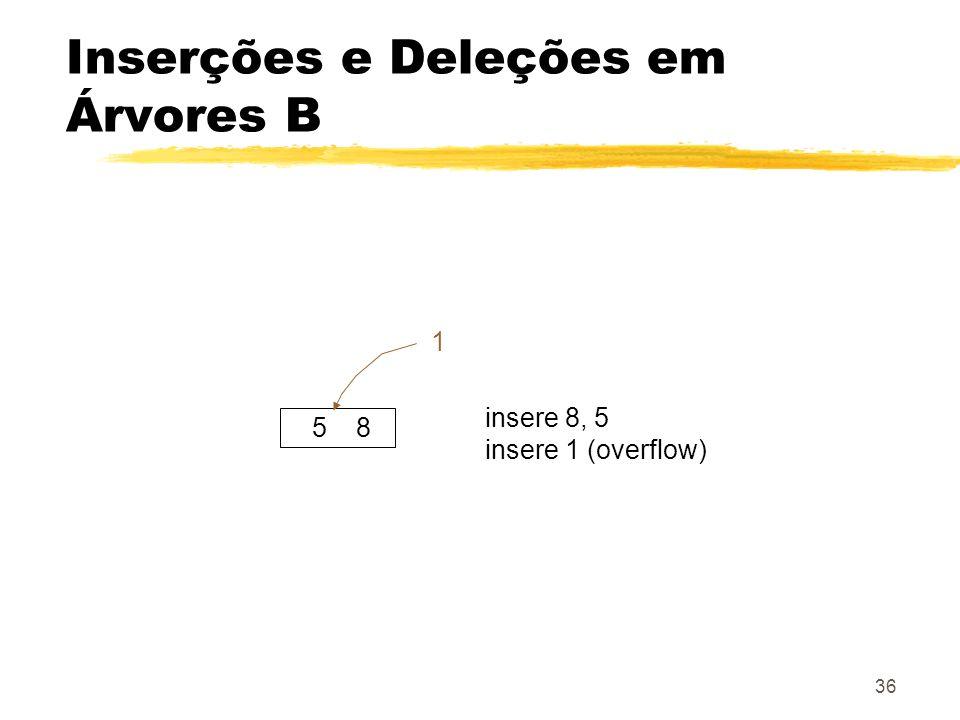 36 Inserções e Deleções em Árvores B 5 8 insere 8, 5 insere 1 (overflow) 1