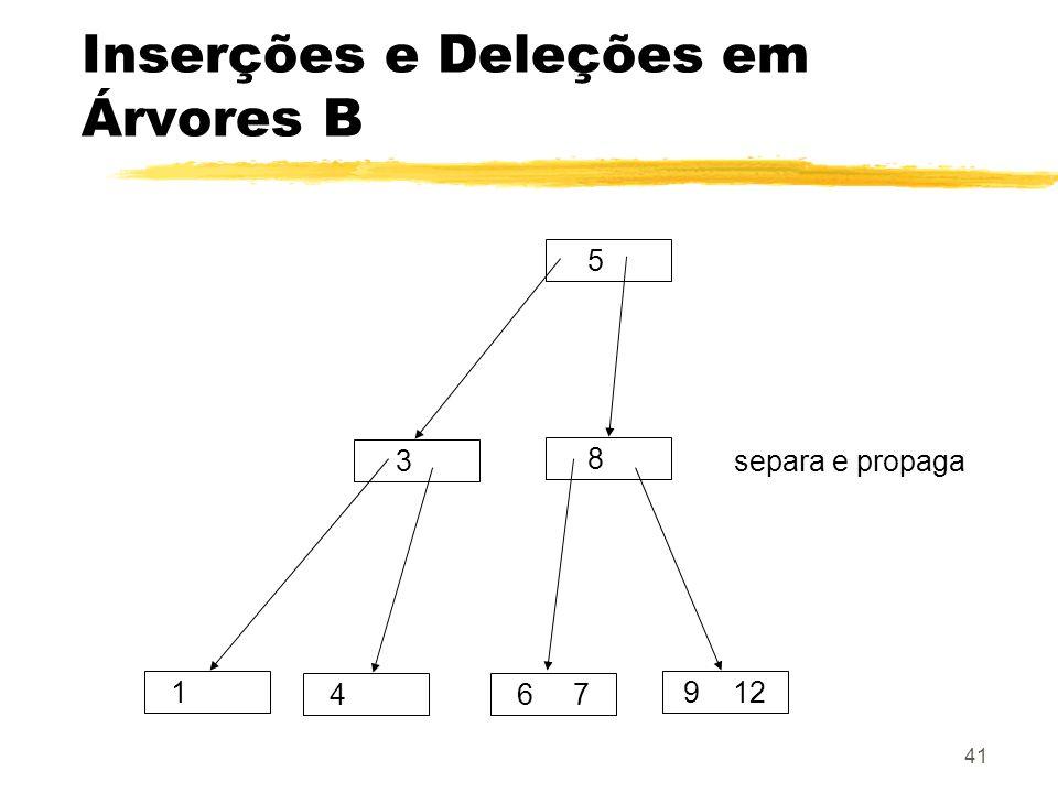 41 Inserções e Deleções em Árvores B 5 3 8 1 46 7 9 12 separa e propaga