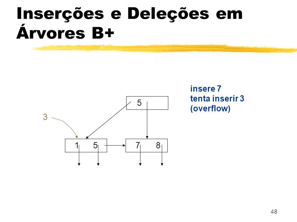 48 5 1 5 7 8 insere 7 tenta inserir 3 (overflow) 3 Inserções e Deleções em Árvores B+
