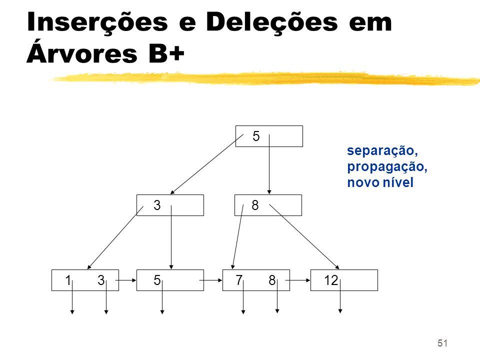 51 5 38 7 8 1 3512 separação, propagação, novo nível Inserções e Deleções em Árvores B+
