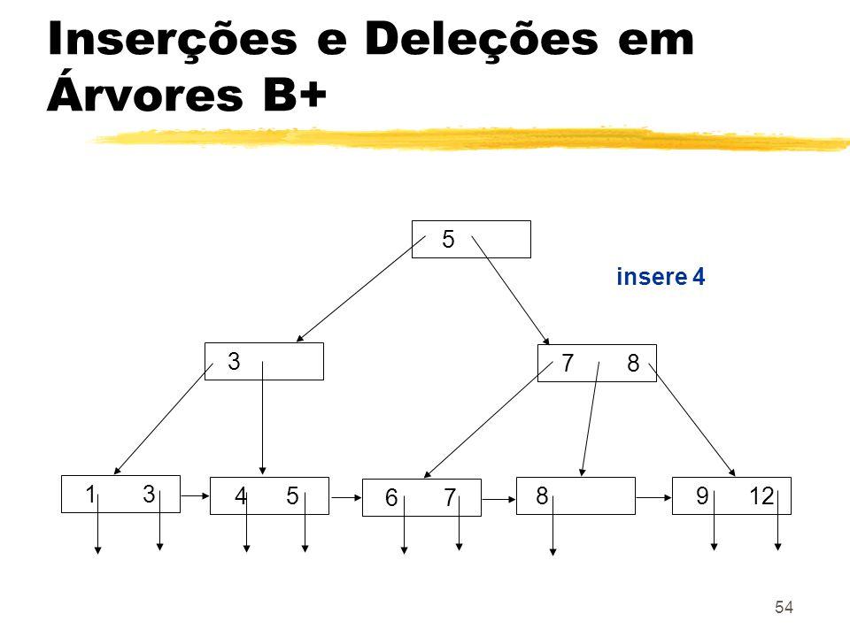 54 5 3 7 8 8 1 3 4 5 9 12 6 7 insere 4 Inserções e Deleções em Árvores B+