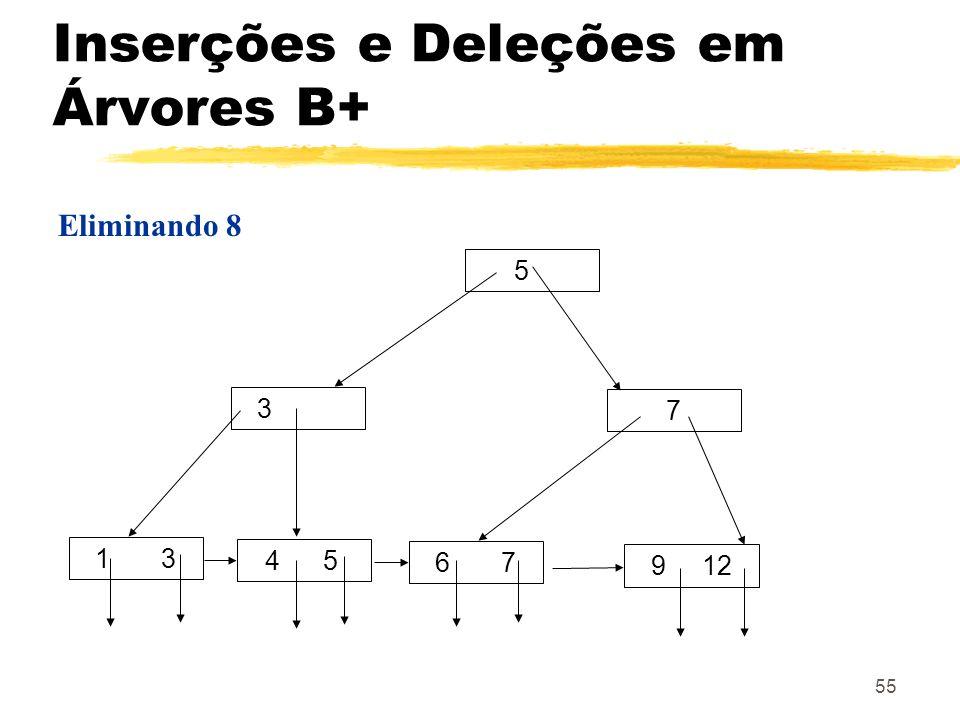 55 Eliminando 8 5 3 7 1 3 4 5 9 12 6 7 Inserções e Deleções em Árvores B+