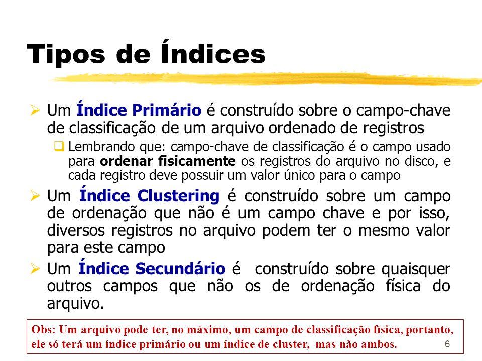 7 Um Índice Denso possui uma entrada no índice para cada registro no arquivo de dados.