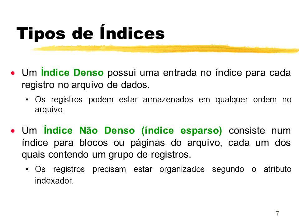 7 Um Índice Denso possui uma entrada no índice para cada registro no arquivo de dados. Os registros podem estar armazenados em qualquer ordem no arqui