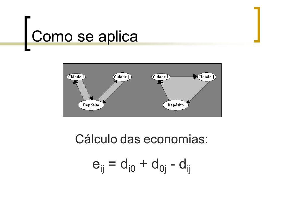 Como se aplica Cálculo das economias: e ij = d i0 + d 0j - d ij