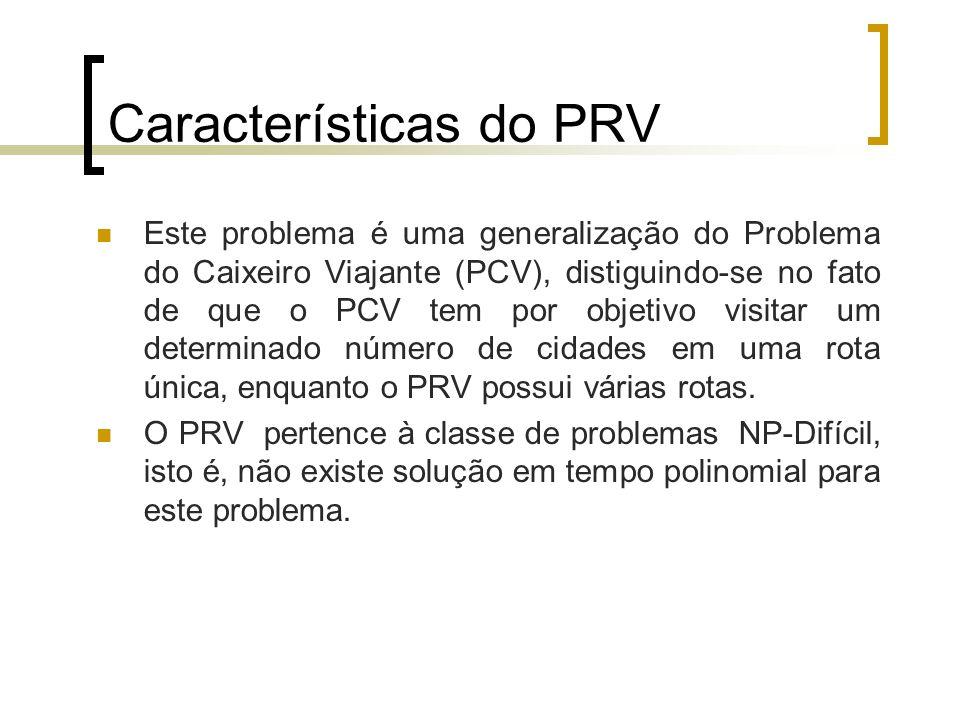 Características do PRV Este problema é uma generalização do Problema do Caixeiro Viajante (PCV), distiguindo-se no fato de que o PCV tem por objetivo