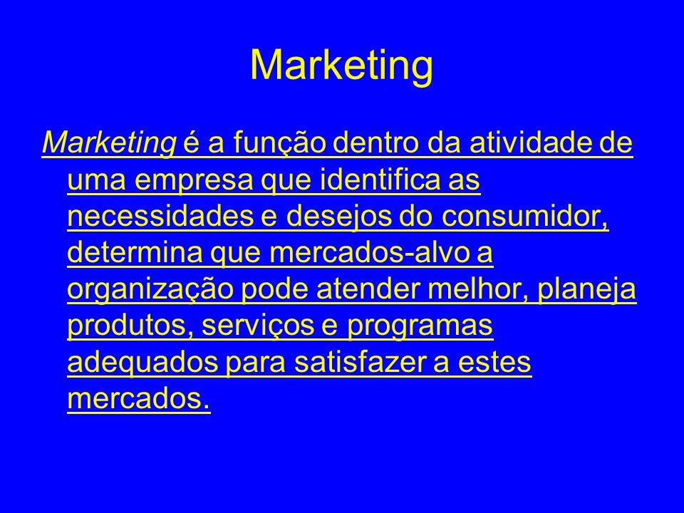 Marketing Marketing é a função dentro da atividade de uma empresa que identifica as necessidades e desejos do consumidor, determina que mercados-alvo