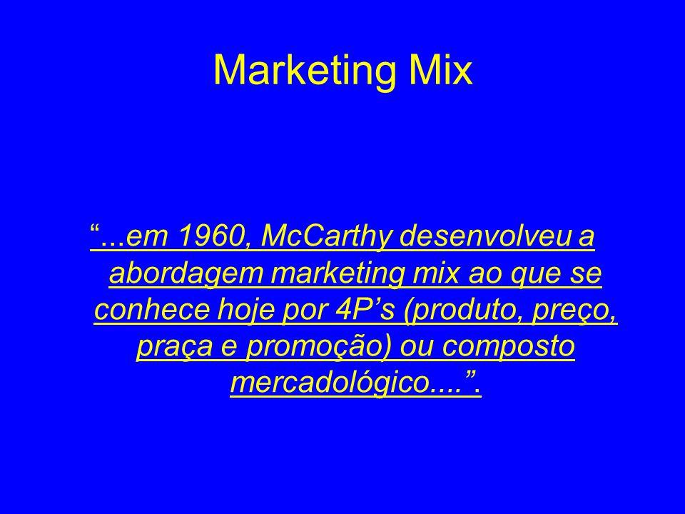 Marketing Mix...em 1960, McCarthy desenvolveu a abordagem marketing mix ao que se conhece hoje por 4Ps (produto, preço, praça e promoção) ou composto