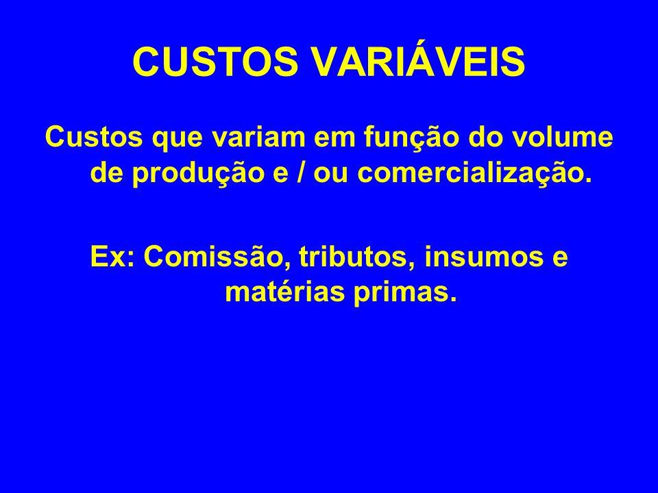 CUSTOS VARIÁVEIS Custos que variam em função do volume de produção e / ou comercialização. Ex: Comissão, tributos, insumos e matérias primas.