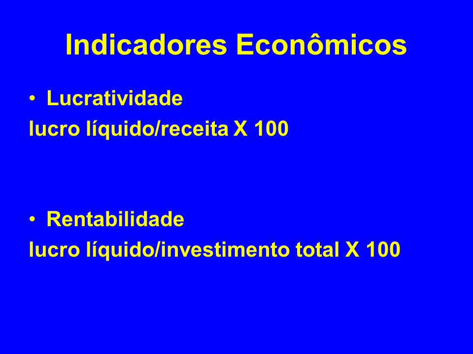 Indicadores Econômicos Lucratividade lucro líquido/receita X 100 Rentabilidade lucro líquido/investimento total X 100