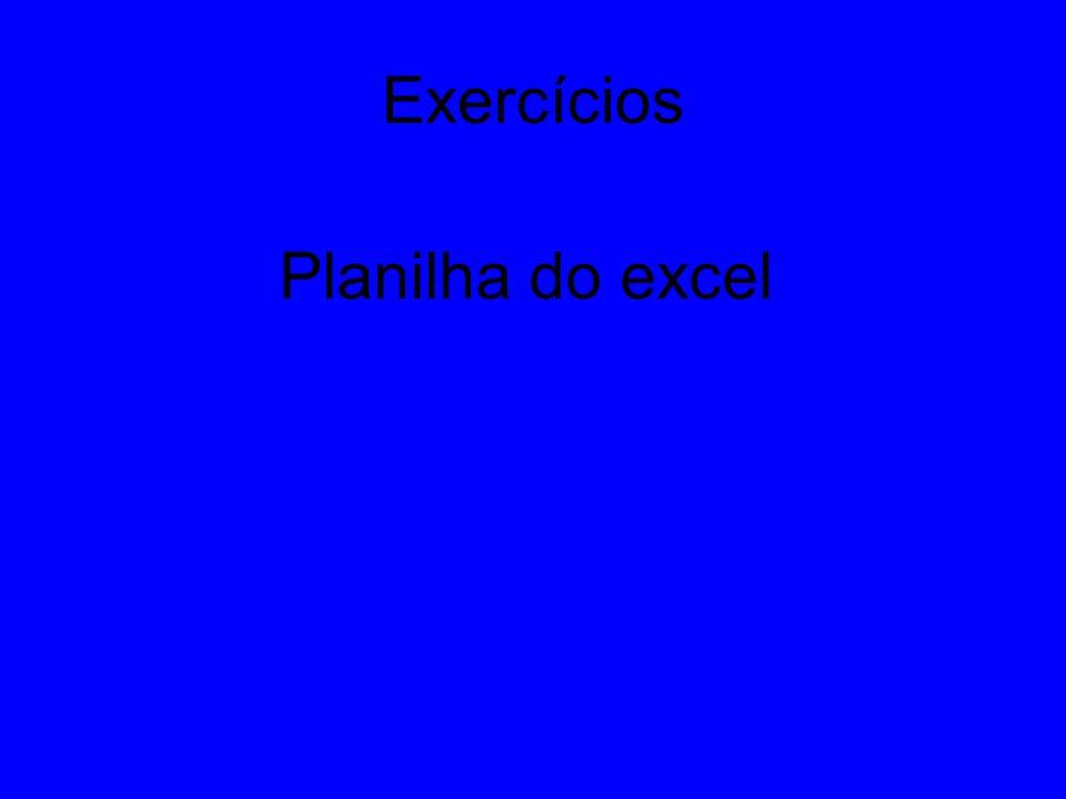 Exercícios Planilha do excel