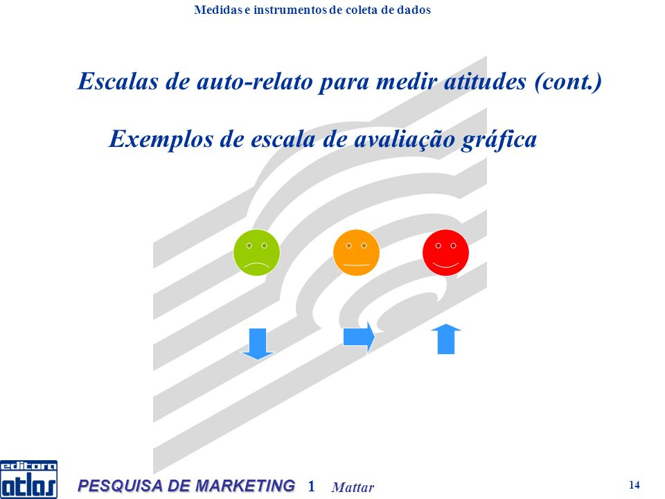 Mattar PESQUISA DE MARKETING 1 14 Exemplos de escala de avaliação gráfica de es Medidas e instrumentos de coleta de dados Escalas de auto-relato para