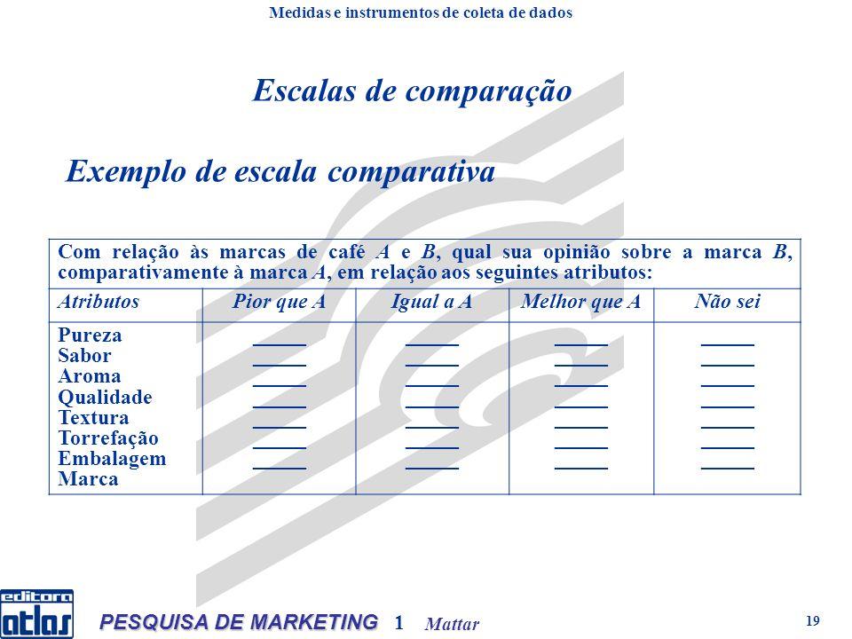 Mattar PESQUISA DE MARKETING 1 19 Exemplo de escala comparativa Com relação às marcas de café A e B, qual sua opinião sobre a marca B, comparativament