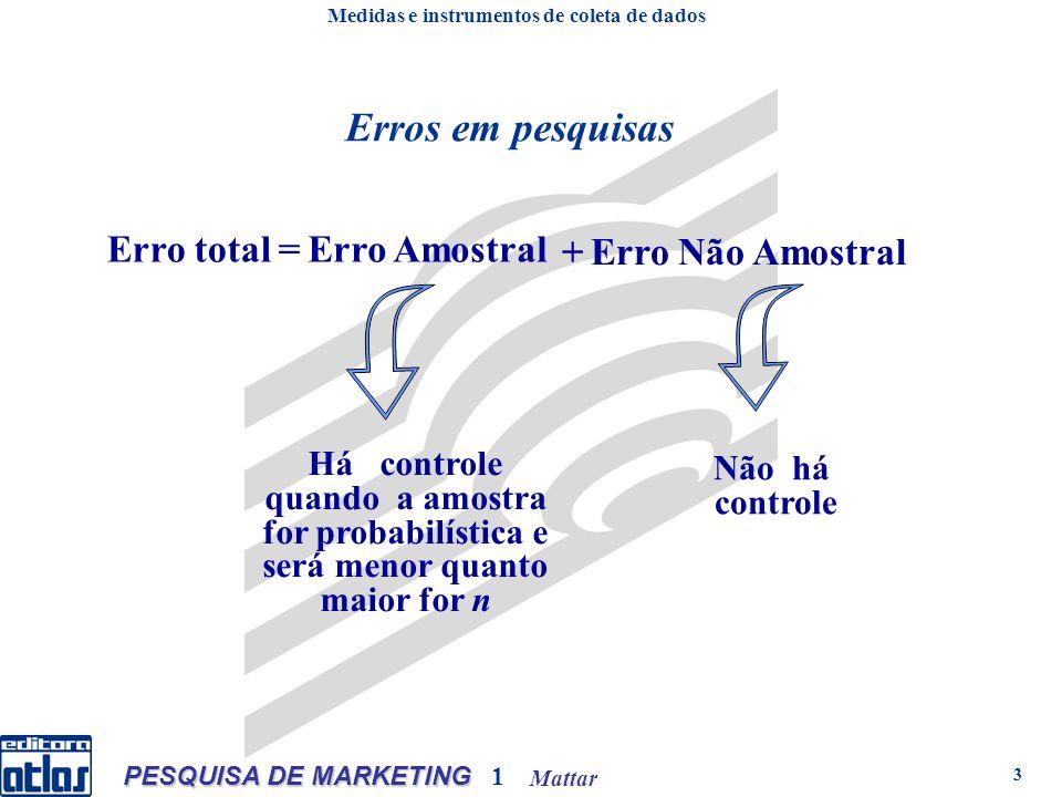 Mattar PESQUISA DE MARKETING 1 3 Erros em pesquisas Há controle quando a amostra for probabilística e será menor quanto maior for n Não há controle Er