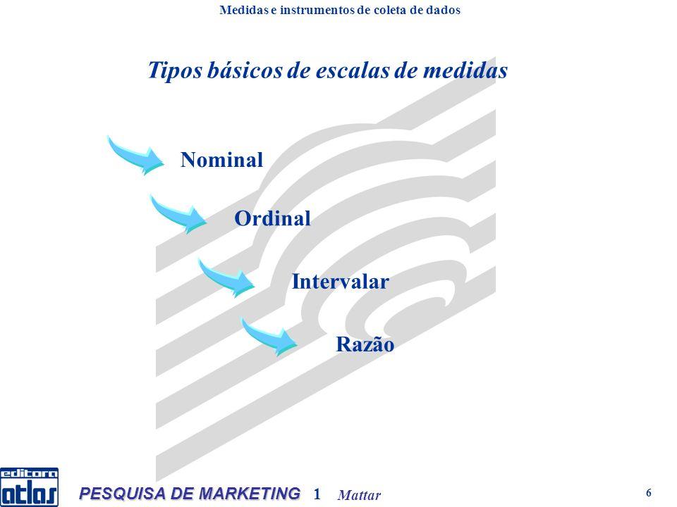 Mattar PESQUISA DE MARKETING 1 6 Tipos básicos de escalas de medidas Medidas e instrumentos de coleta de dados Nominal Ordinal Intervalar Razão