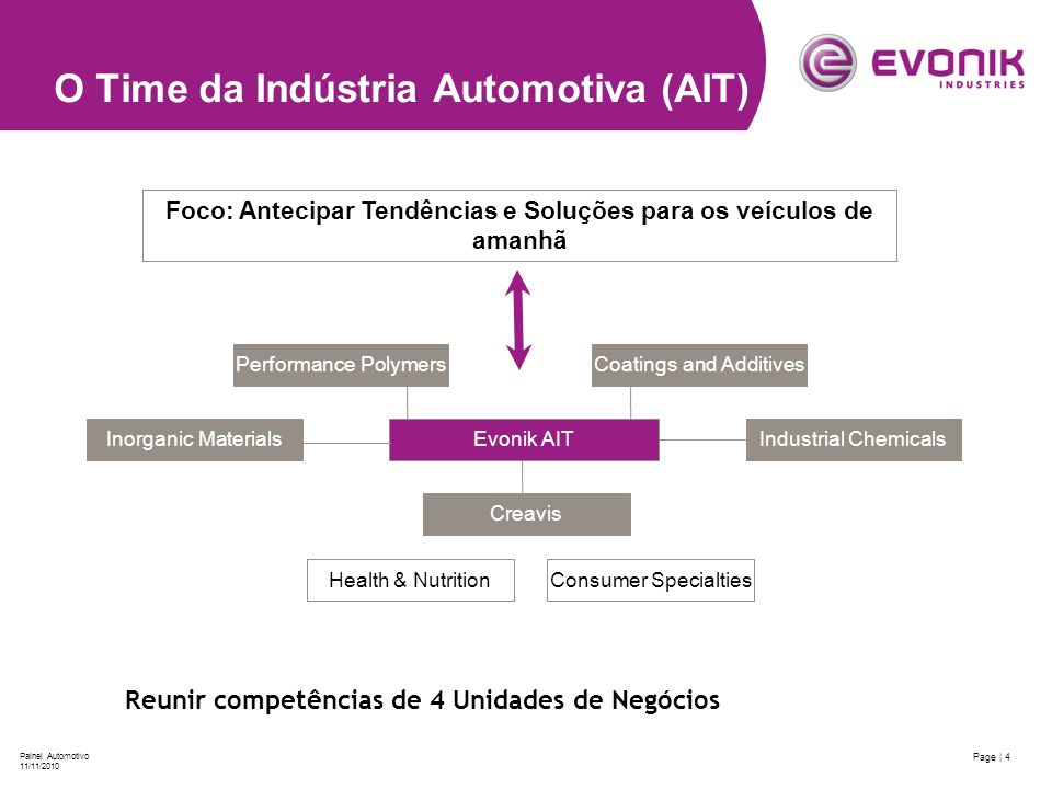 Page | 4 Painel Automotivo 11/11/2010 O Time da Indústria Automotiva (AIT) Coatings and AdditivesPerformance Polymers Industrial ChemicalsInorganic Ma