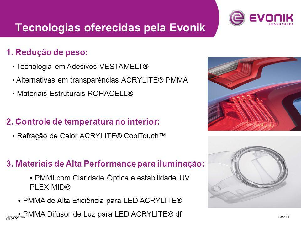 Page | 5 Painel Automotivo 11/11/2010 Tecnologias oferecidas pela Evonik 1. Redução de peso: Tecnologia em Adesivos VESTAMELT® Alternativas em transpa