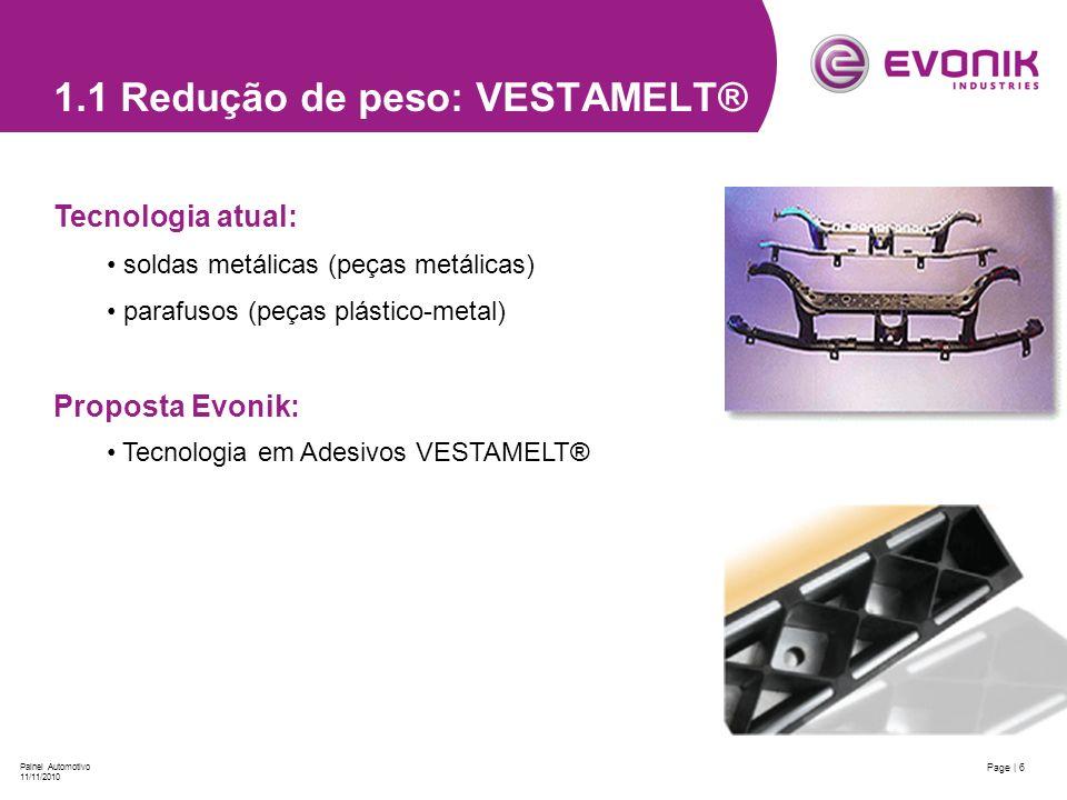 Page | 6 Painel Automotivo 11/11/2010 1.1 Redução de peso: VESTAMELT® Tecnologia atual: soldas metálicas (peças metálicas) parafusos (peças plástico-m