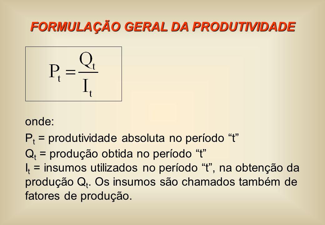 FORMULAÇÃO GERAL DA PRODUTIVIDADE onde: P t = produtividade absoluta no período t Q t = produção obtida no período t I t = insumos utilizados no perío