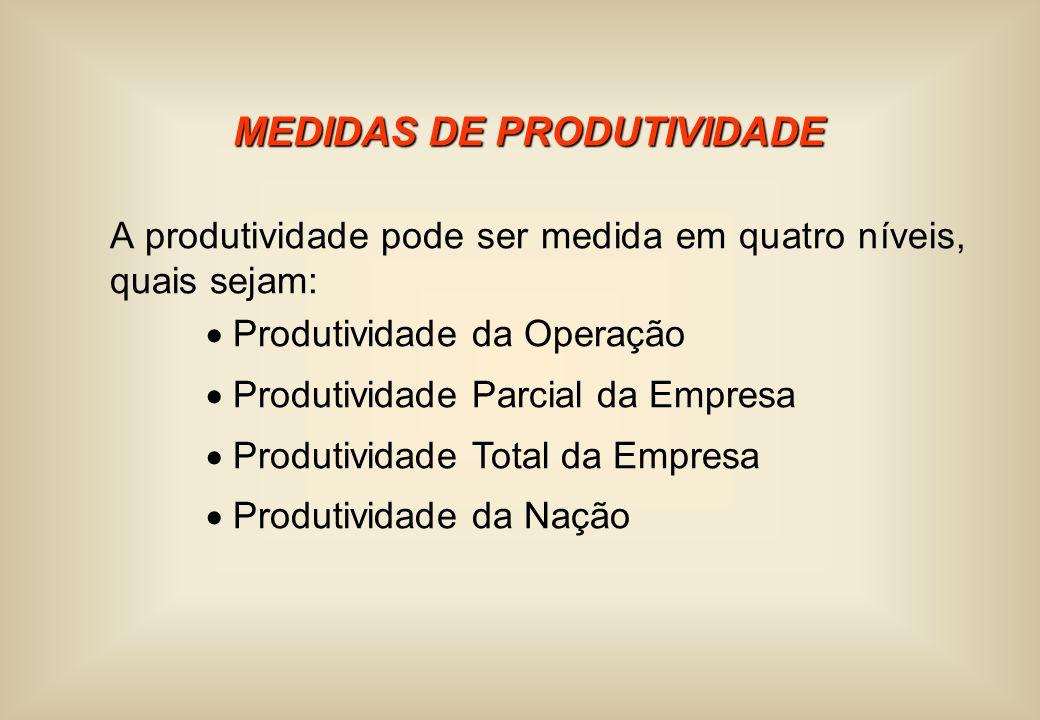 MEDIDAS DE PRODUTIVIDADE A produtividade pode ser medida em quatro níveis, quais sejam: Produtividade da Operação Produtividade Parcial da Empresa Pro