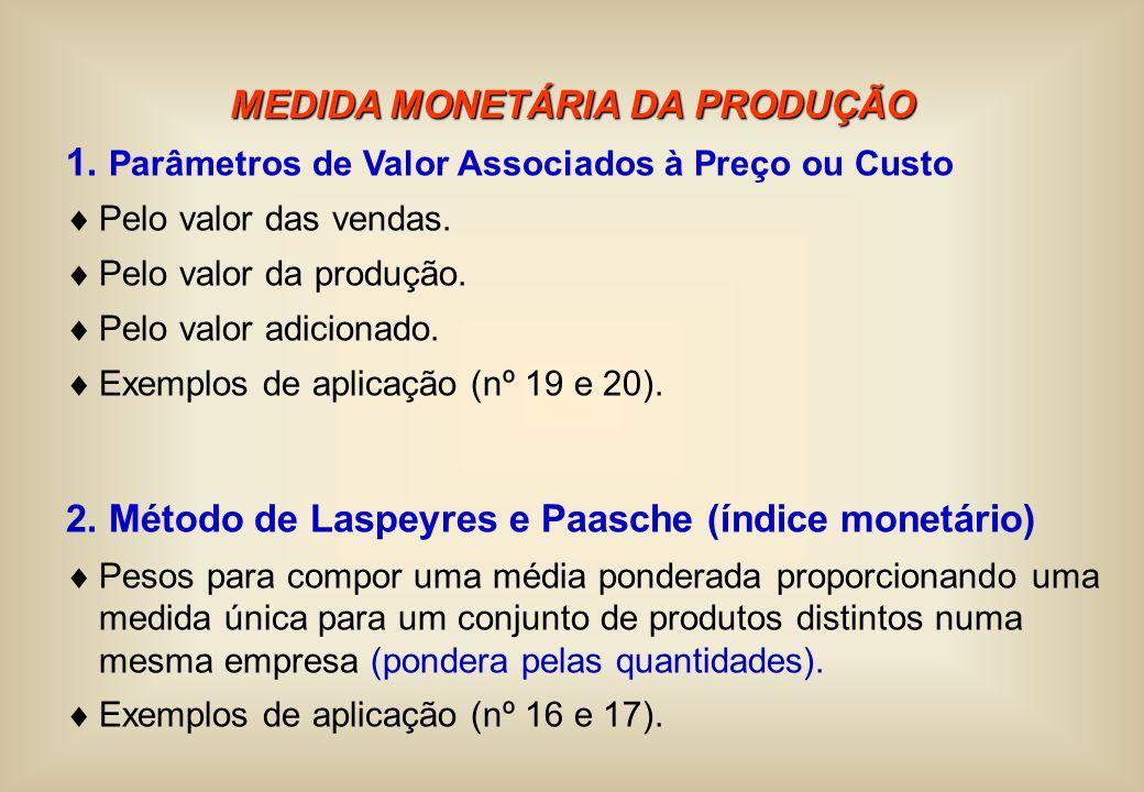 MEDIDA MONETÁRIA DA PRODUÇÃO 1. Parâmetros de Valor Associados à Preço ou Custo Pelo valor das vendas. Pelo valor da produção. Pelo valor adicionado.