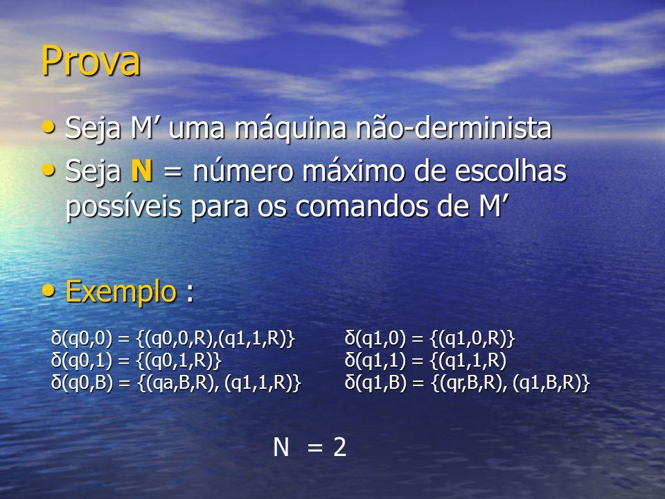 Prova Seja M uma máquina não-derminista Seja M uma máquina não-derminista Seja N = número máximo de escolhas possíveis para os comandos de M Seja N =