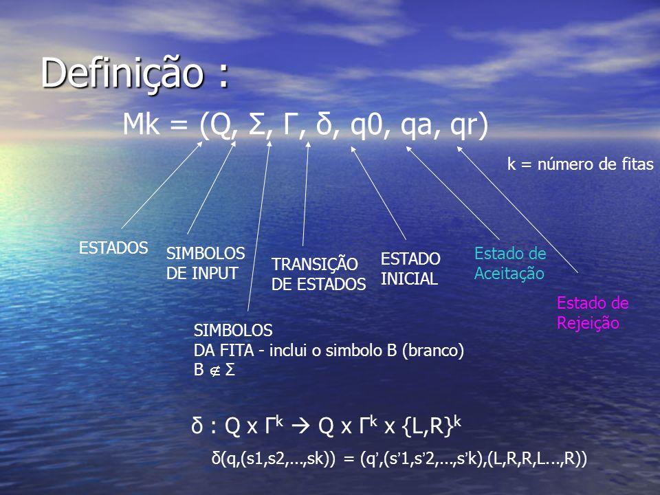 Definição : Mk = (Q, Σ, Γ, δ, q0, qa, qr) k = número de fitas ESTADOS SIMBOLOS DE INPUT TRANSIÇÃO DE ESTADOS ESTADO INICIAL Estado de Aceitação SIMBOL
