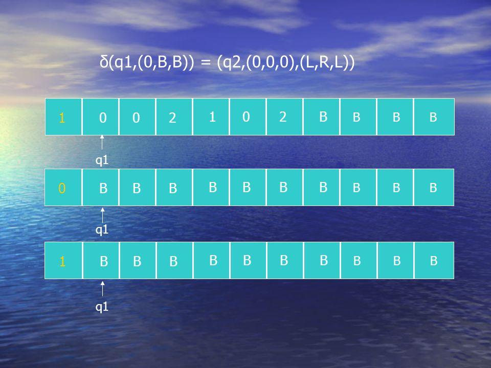 1002 102B BBB 0BBB BBBB BBB q1 1BBB BBBB BBB δ(q1,(0,B,B)) = (q2,(0,0,0),(L,R,L))