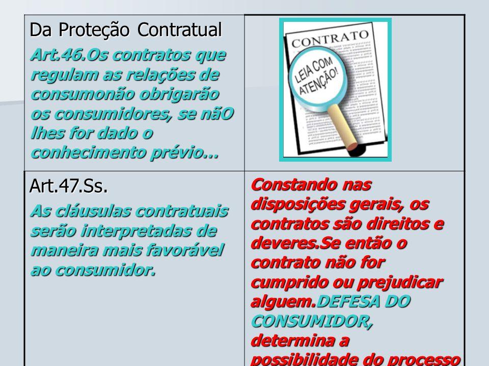 Da Proteção Contratual Art.46.Os contratos que regulam as relações de consumonão obrigarão os consumidores, se nãO lhes for dado o conhecimento prévio
