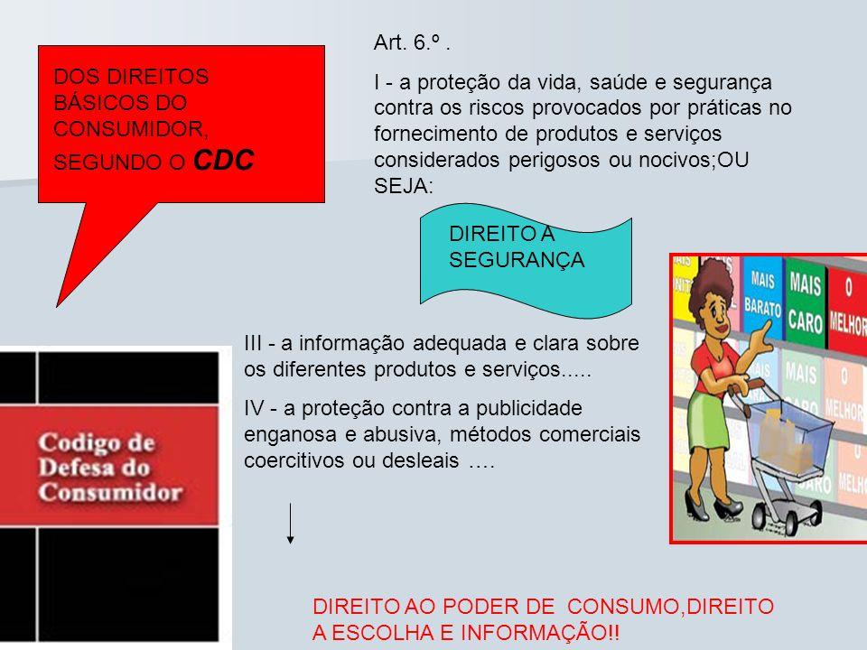 DOS DIREITOS BÁSICOS DO CONSUMIDOR, SEGUNDO O CDC Art. 6.º. I - a proteção da vida, saúde e segurança contra os riscos provocados por práticas no forn
