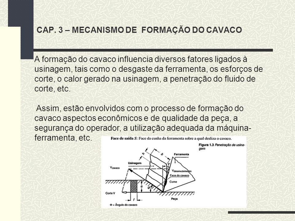 A formação do cavaco influencia diversos fatores ligados à usinagem, tais como o desgaste da ferramenta, os esforços de corte, o calor gerado na usina