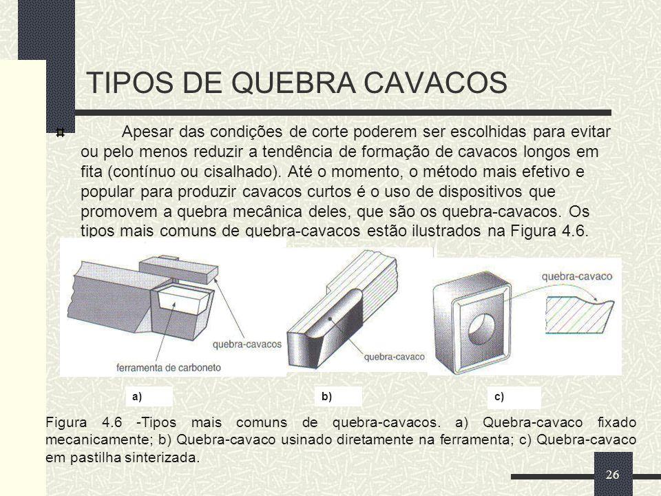 TIPOS DE QUEBRA CAVACOS Apesar das condições de corte poderem ser escolhidas para evitar ou pelo menos reduzir a tendência de formação de cavacos long