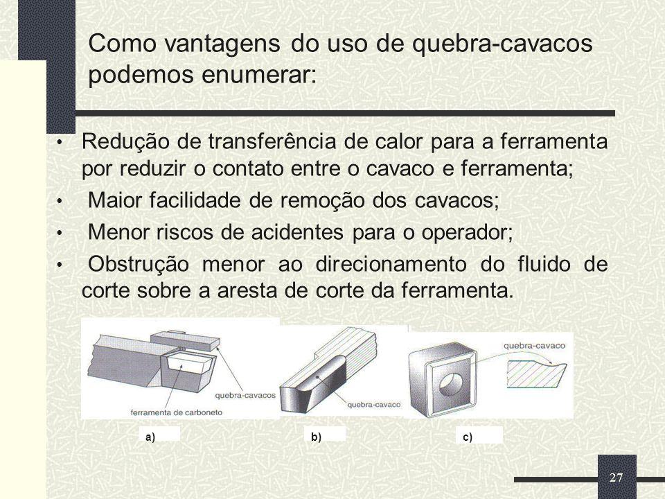 Como vantagens do uso de quebra-cavacos podemos enumerar: Redução de transferência de calor para a ferramenta por reduzir o contato entre o cavaco e f