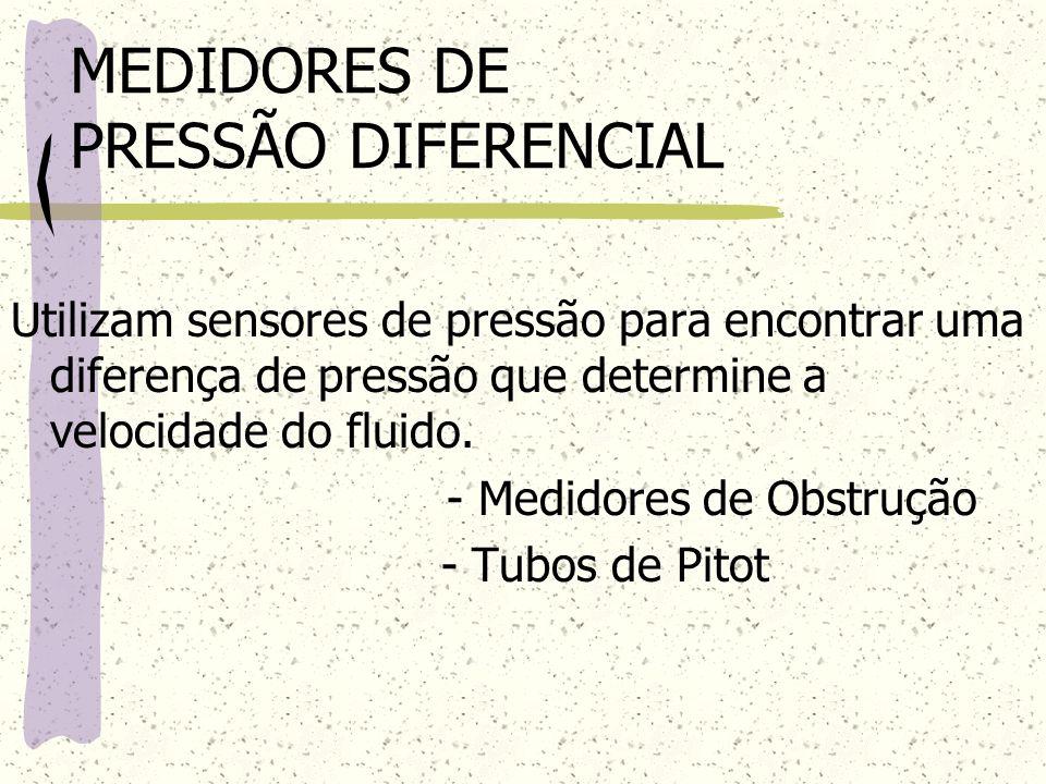 MEDIDORES DE PRESSÃO DIFERENCIAL Utilizam sensores de pressão para encontrar uma diferença de pressão que determine a velocidade do fluido. - Medidore