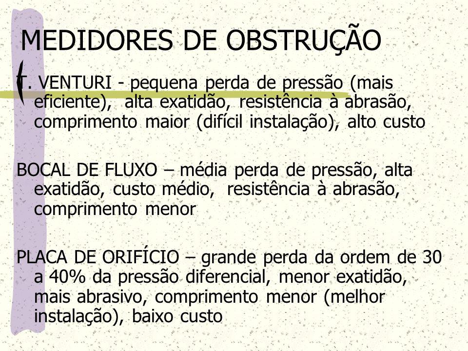 MEDIDORES DE OBSTRUÇÃO T. VENTURI - pequena perda de pressão (mais eficiente), alta exatidão, resistência à abrasão, comprimento maior (difícil instal
